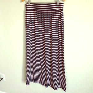Long Cotton Skirt with Elastic Waist